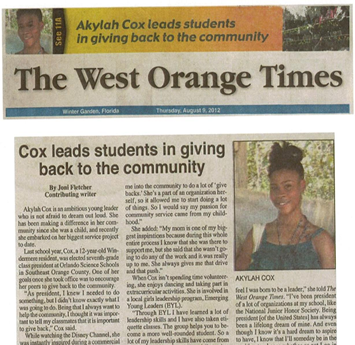 OSS in the West Orange Times - AkylahCo